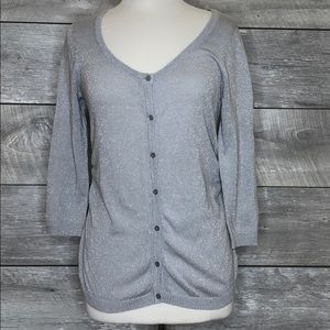 Metallic Silver Cardigan Size M Buttonup Maurices